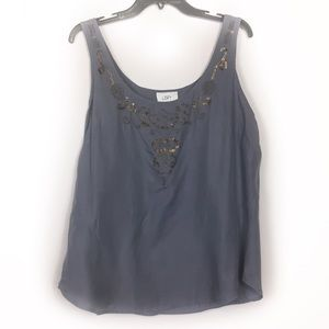 LOFT blueish grey beaded embroidered silk tank top